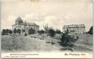 McPherson, Kansas Postcard McPherson College & Dormitory Undivided Back c1900s