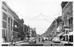 Chippewa Falls WI Bridge Street Store Fronts Real Photo RPPC Postcard