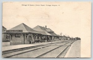 Chicago Heights~Chicago & Eastern Illinois Railroad Depot~View Down Tracks~1908