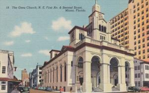 MIAMI, Florida, 1930-1940's; The Gesu Church, N.E. First Avenue and Second St...