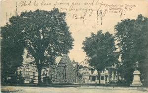 Cortland New York~Presbyterian Church~House~Civil War Soldiers Monument~1907