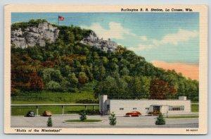 La Crosse Wisconsin~Burlington Railroad Station~Art Deco~1950 Linen Postcard