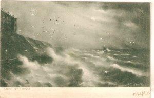G.E. NEWTON. Storm off Cromer Tuck Rough Sea Series PC # 1116