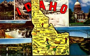 Map Of Idaho With Greetings From The Gem State
