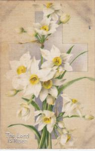 The Lord is Risen, Silver cross, white flowers, 00-10s
