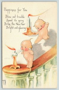 Rose O'Neill New Year~Kewpie on Bannister~Blow Out Old Candle~Brings New~1923