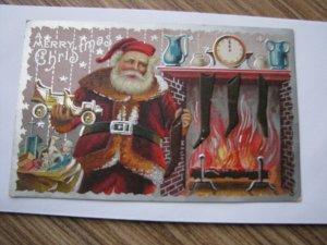 Santa Antique Christmas Postcard Red Robe Reindeer Fireplace Truck Clock