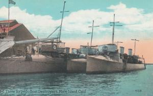 MARE ISLAND, California, 1900-10s; Three Torpedo Boat Destroyers
