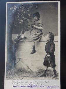 (2) Shows Little Boy taking a Pie or Pasty from a Little Girls c1903 RP 110515