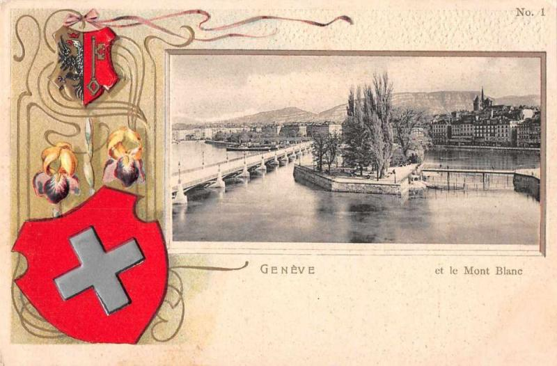 Geneve Geneva Switzerland Mont Blanc Scenic View Antique Postcard J76353