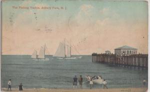 ASBURY PARK NJ - FISHING BOATS/YACHTS and PIER - 1910