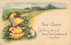 M Dulk~Yellow Sunbonnet Girl Kneels in Flowers~White Easter Rabbit~Chicks~Emboss