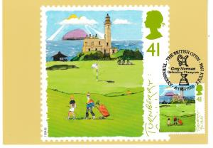 Post Card 41p stamp issued 5 July 1994 Golf Turnberry 9th Hole with franked stam