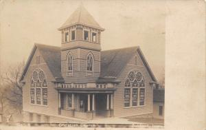 Oakland IA~Closeup of Beautiful Stained Glass Windows~Christian Church~RPPC 1910