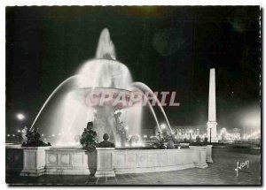 Postcard Modern Night Paris Place de la Concorde