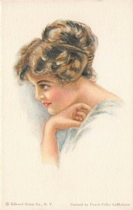 LP74 Artist Signed Fidler Postcard Pretty Woman American Girl No.56 Hairstyle