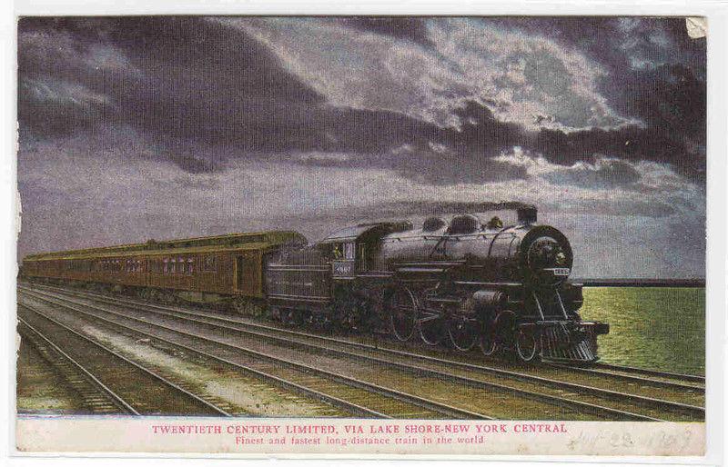 Twentieth Century Limited New York Central Railroad Train postcard