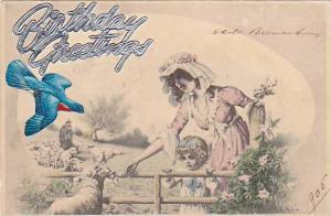 Birthday Greetings, Mother and child feeding lamb, blue bird flies toward the...