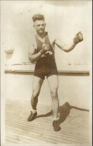 Set 5 Navy Boxers Boxing WWI - Weight Class & Names on Back RPPCs myn