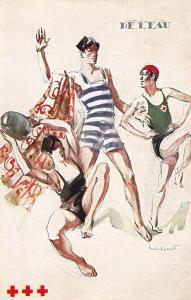 Artist Signed Massonnet Beach Boys Red Cross Postcard