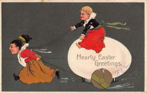 Easter Greeting Children Egg Cart Antique Postcard K78544