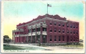 Brinkley, Arkansas Postcard HOTEL RUSHER Street View w/ 1918 ARK. Cancel