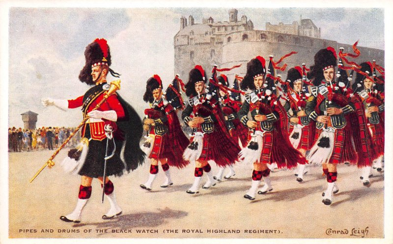 Pipes & Drums of the Black Watch, Scotland, Early Postcard, Unused