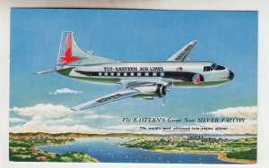 P2133, vintage postcard fly eastern,s new silver falcon twin engine airplane