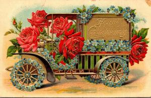 Heartiest Congratulations With Red Roses Decorated Car
