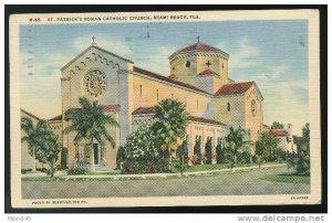 St Patrick's Roman Catholic Church FL Miami Beach Florida Linen Postcard 1942