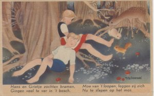 AS: WILLY SCHERMELE; 1920-30s; Hansel and Gretel sleeping in the forest, animals