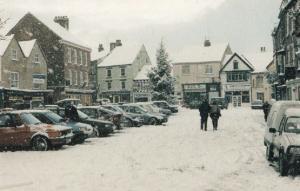Knaresborough Yorkshire Cancer Charity Shop in Winter Snow Yorkshire Postcard