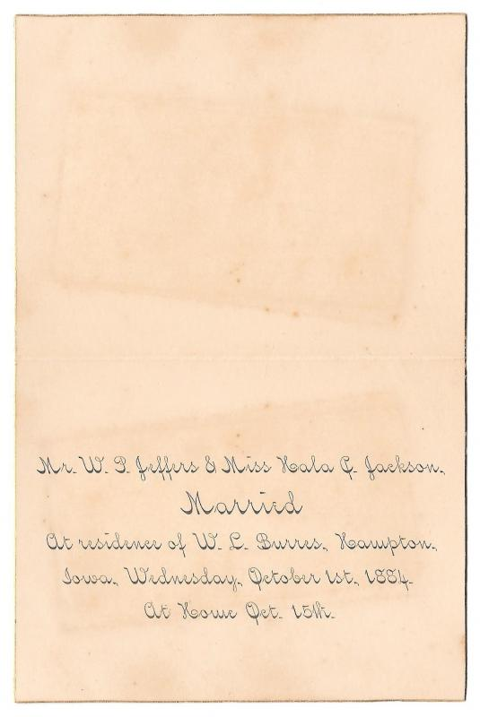 1884 Marriage Announcement Photos Hampton Iowa WP Jeffers Hala Jackson Genealogy