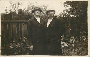 Early photo postcard women fancy hats