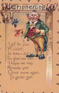 TUCK #4, Valentine Greetings, Old Man With Glasses, Erinnerung, 1900-1910s