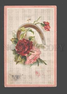 094796 Pink ROSES w/ Horse-Shoe Style KLEIN vintage Embossed