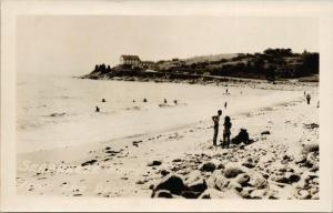 Seabreeze Hotel ON Ontario ?? Unknown Location People at Beach RPPC Postcard E36