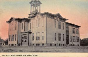 Elk River Minnesota High School Street View Antique Postcard K103692