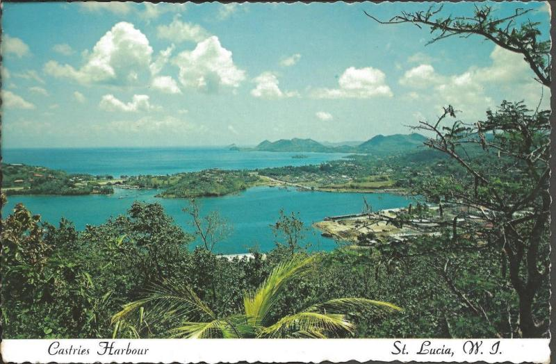 Vintage 1976 Postcard Castries Harbour ST. LUCIA West Indies