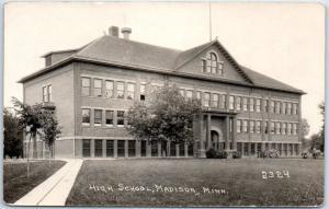 Madison, Minnesota RPPC Postcard HIGH SCHOOL Building Crescent Photo Co. Unused