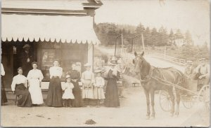 People Storefront DM Ferry & Co. Seeds Detroit MI Horse Wagon RPPC Postcard F21