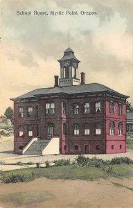 School House, Myrtle Point, Oregon 1910 Hand-Colored Vintage Postcard