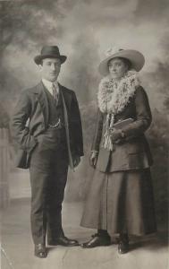 Fancy couple J. Thompson Photo Artist Wellington Place Belfast social history