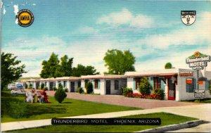 Postcard AR Phoenix Thunderbird Motel Highways 60, 70, 80, 89 LINEN 1940s L14