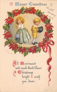 Ellen H Clapsaddle Christmas~Victorian Boy & Girl in Poinsettia Wreath~Wolf & Co