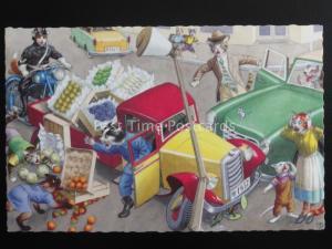 Mainzer Cats FRUIT & VEG VAN Eugen Hartung c1950's Postcard Coloprint 2262/4