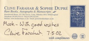 Clive Farahar BBC The Antiques Roadshow Beatrix Potter Hand Signed Autograph