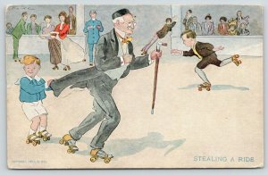 Brill~Roller Rink Skating~Stealing a Ride Boy on Old Man's Coattails~1907 Hill