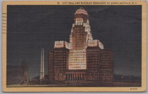 Buffalo, New York-City Hall and McKinley Monument by night-1950