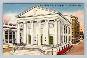 Savannah, GA-Georgia, Old Christ Church, Linen Postcard